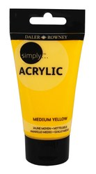 Acrylic -Student: Daler-Rowney Simply Acrylic 75ml Medium Yellow